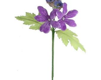 Millinery Flowers Velvet Mixed Bouquet Czech Republic Lavender And Blue  NFC 036 PU
