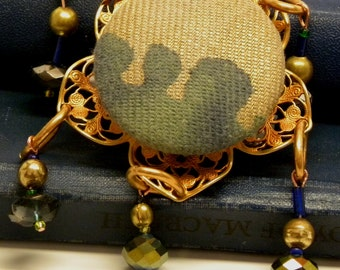 Big Steampunk FORTUNY Gear Aromatherapy Perfume Button BROOCH Pin Green Gold Vintage Miriam Haskell Copper Flower Filigree Swarovski Crystal
