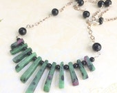 Necklace of Ruby Zoisite - Green with dark ruby stone and black onyx bead necklace