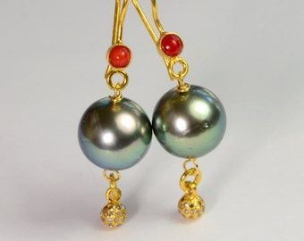 18k Yellow Gold 11.25mm South Sea Tahitian Pearl Earrings With Sardinia Coral