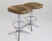 2 mid century modern LEOPARD print & CHROME swivel bar stools