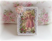 Shabby Pink Old World Santa Altered Book Christmas Decor Book Vintage Chic Shabby Roses
