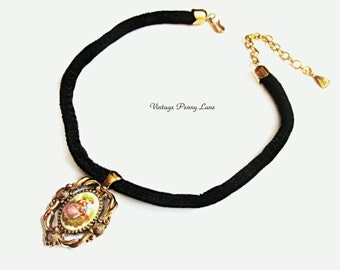 Vintage Cameo Choker Necklace, Black Velvet
