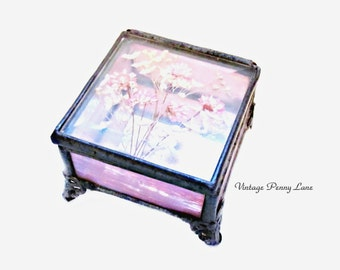 Vintage Stained Glass Dried Flower Trinket Box / Handmade