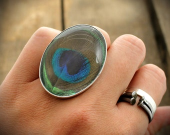 Peacock Feather Cocktail Ring - Sterling Ring with Quartz and Naturally Shed Peacock Plumage Feather - MADE TO ORDER