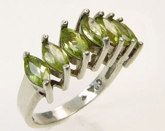 Vintage Sterling Silver Marquise Peridot Ring Anniversary Band