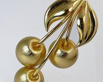 Vintage Napier Gold Cherry Brooch