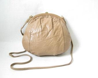 Vintage 80s Taupe Leather Cross Body Boho Purse
