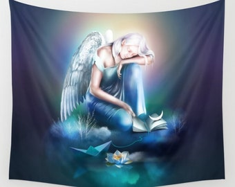 Sad Angel wall tapestry