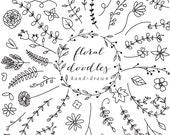 Floral elements floral hand drawn decoration clipart floral clip art doodles flowers wedding clipart sketch lines lineart blacklines leaves