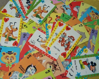 Vintage - Group of Assorted Game Cards - Disney Characters & Animal Rummy