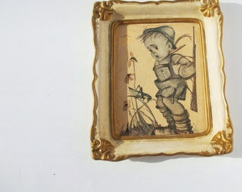 Vintage Hummel - Boy with Grasshopper-Reproduction Picture-Made in Germany (West-Berlin)