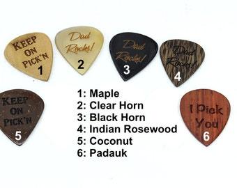 Handmade Custom Guitar Picks,Personalized Guitar Pick,Engraved Guitar Pick,Padauk Wood