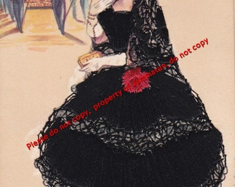 Vintage Silk Embroidered Andalucia Postcard Elsi Gumier Tarjeta Postal