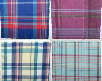 Group of 4 Different Vintage 1970 13 Inch Square Fine Quality Plaid Cotton Fabric Samples for Pocket Squares, Hankies, Napkins, Buntings