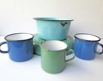 Small Collection 5 Piece Vintage 1950's and 60's  Enamel Ware in Jade Green, Robin's Egg Blue and Cobalt Blue, Basins, Mugs, Time Wear