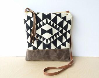 weekdayer • crossbody bag - geometric print • black and white geometric print - screenprint - iPad bag - gifts under 50 • vukani