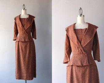 1950s Dress / Vintage 50s Rust Peplum Dress / 50s Portrait Collar Fitted Wiggle Dress