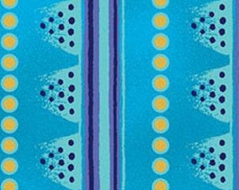 Laurel Land Aqua Stripe Clothworks Fabric 1 yard