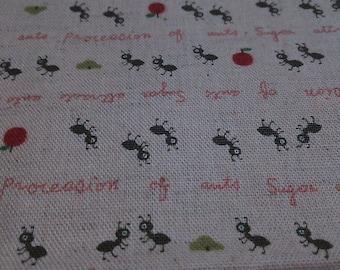 Half Yard Japanese Linen Blend Fabric Ants Kokka Trefle 3 colors to choose