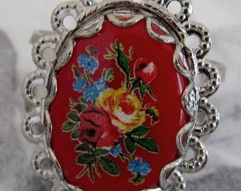 SALE handmade ring flower using vintage components - j4790