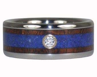 Diamond Titanium Ring with Koa Wood and Blue Lapis