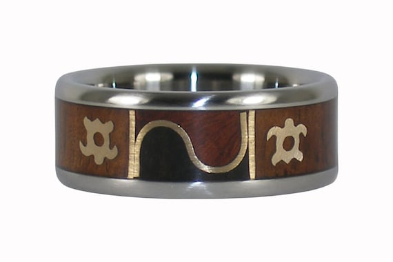 Turtle Design Wood and Gold Ring