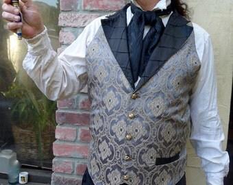 Silver and Black Renaissance Silk Brocade Steampunk Victorian Lapeled Gentlemen's Vest