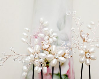 Set of Three Rose Gold Bridal Hair Pins, Freshwater Pearl Flower Hair Pins, Flower Headpiece, wedding Hair Fascinator