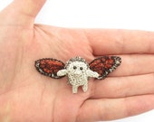 Hedgehog with butterfly wings brooch - hedgehog jewelry, animal brooch, flying hedgehog, crocheted wire jewelry