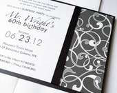 Male Birthday party Invitations, Modern Masculine Wedding Invitation, Black, Grey Retirement, Anniversary, Artsy invite -Deposit to Start