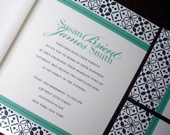 Moroccan wedding invitations, navy blue invitation, unique muslim invitation, teal invite, elegant invitation, boho indian wedding invite