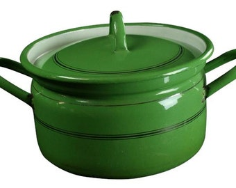 Vintage French Enamelware Green  Gold Pin-Striped Cooking Pot with Lid Free Shipping