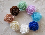 Drilled Resin Rose Flower Beads With Hole You Choose Your Colors 13mm 944D