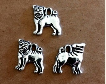 7 Pug Dog Charms - Antique Silver - SC247 #MR