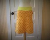 Frances A-line Skirt - Vintage Knit Style - Bright Citrus - Size Medium