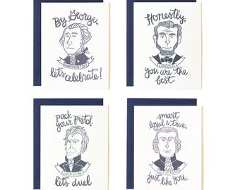 Presidents Illustrated Cards - Boxed Set of 8//1canoe2