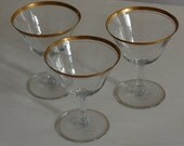 3 Vintage Gold Rim Champagne or Sherbet Glasses Optic Glass