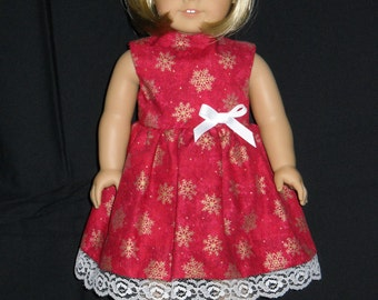 Christmas Dress Red with Gold Snowflakes American Girl 18 inch Doll Dress Handmade