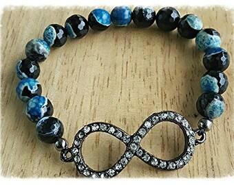 Womens beaded gemstone bracelet, 8mm agate bead bracelet, infinity charm friendship bracelet, something blue, gift for her, bracelet stack