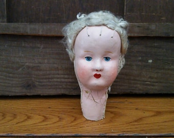 Vintage Painted Sewn Doll Head Great Creepy Decor
