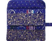Blue Gold Circular Needle Case, Floral Crochet Hook Storage, Anchors Double Pointed Needle DPN Organizer, Art Supplies Holder, Brushes Roll