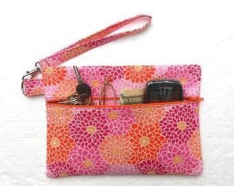 Pink Orange Wristlet, Peach Floral Clutch, Zipper Phone Clutch, Wallet With Strap, Small Zipper Pouch, Gadget or Camera Bag, Makeup Case
