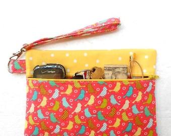 Bird Print Wristlet, Coral Zipper Phone Clutch, Front Zippered Purse, Wallet With Strap, Makeup or Gadget Pouch, Yellow Camera Zipper Bag
