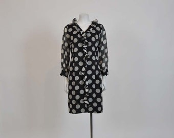 1960s dress / Connect The Dots Vintage 60's Polka Dot Chiffon Dress