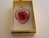 Encased Red Rose Heart Shaped Pendant