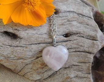 Large Rose Quartz Heart Cabochon Pendant