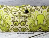 Octopus Handmade vegan Long Wallet  BiFold Clutch - Green salt water Octopus