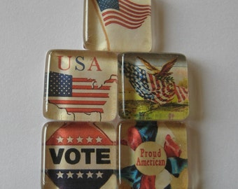 USA American Themed Square Glass Magnets Set of 5