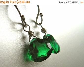 FLASH SALE, Emerald Earrings, emerald quartz, emerald dangle, Sterling or Gold Available, emerald green earrings, Teeny Emerald Green Earrin